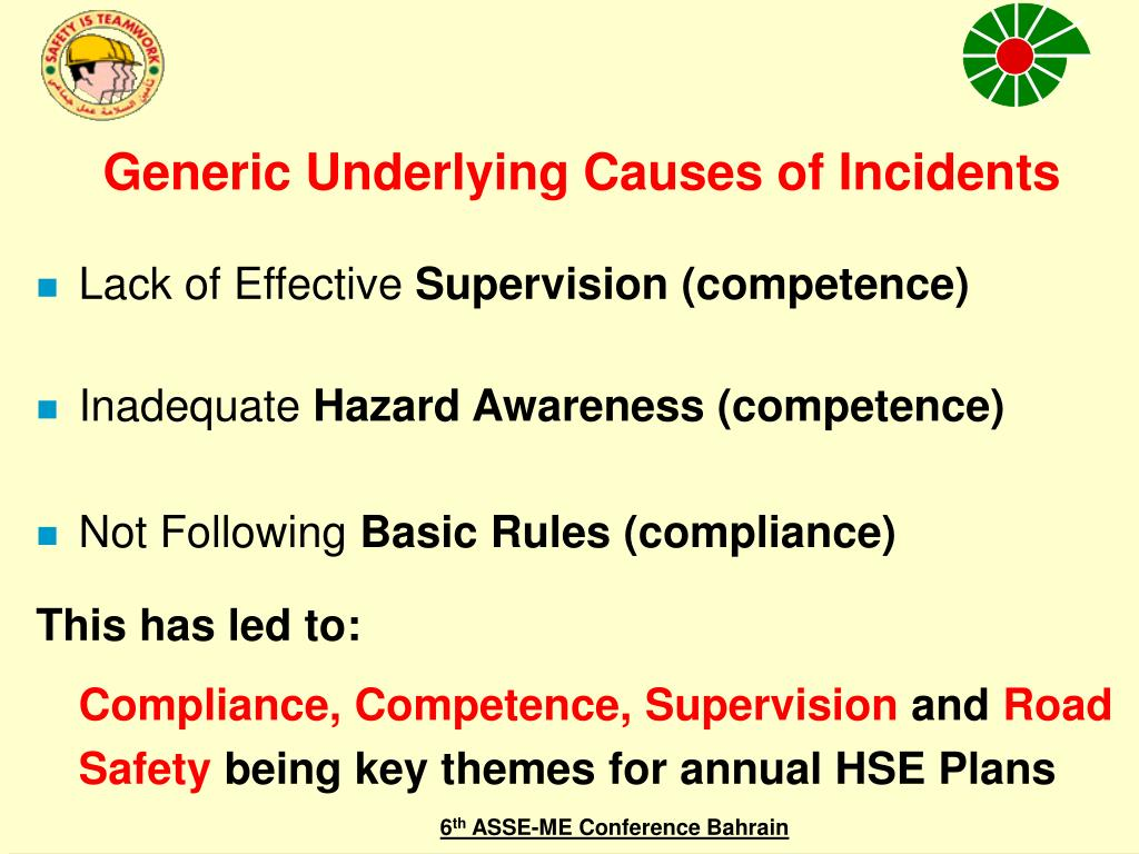 Generic Underlying Causes of Incidents