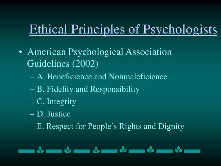 Ethical principles of psychologists