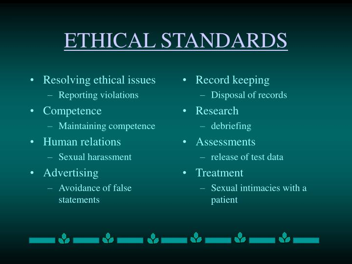 Resolving ethical issues