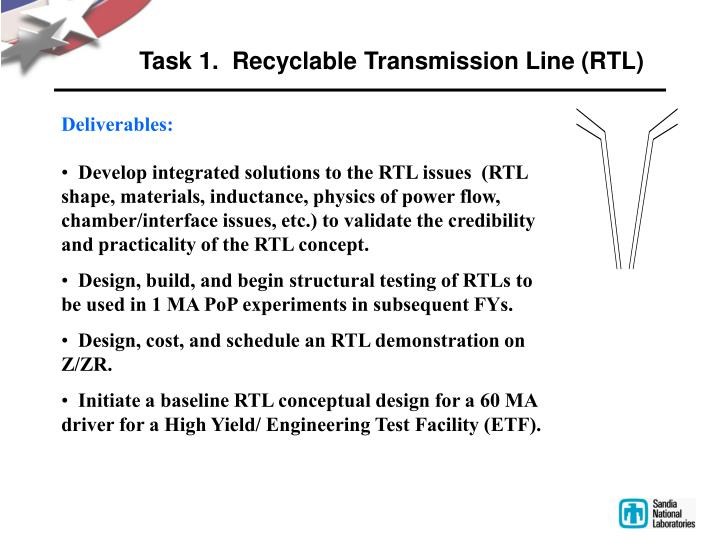 Task 1.  Recyclable Transmission Line (RTL)