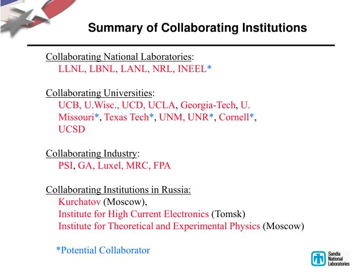 Summary of Collaborating Institutions