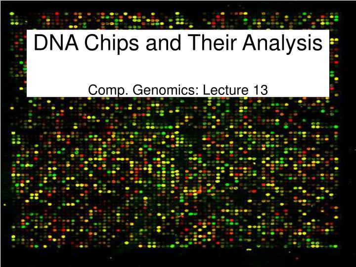 dna chips and their analysis comp genomics lecture 13 n.