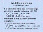 acid base formulas optional enrichment