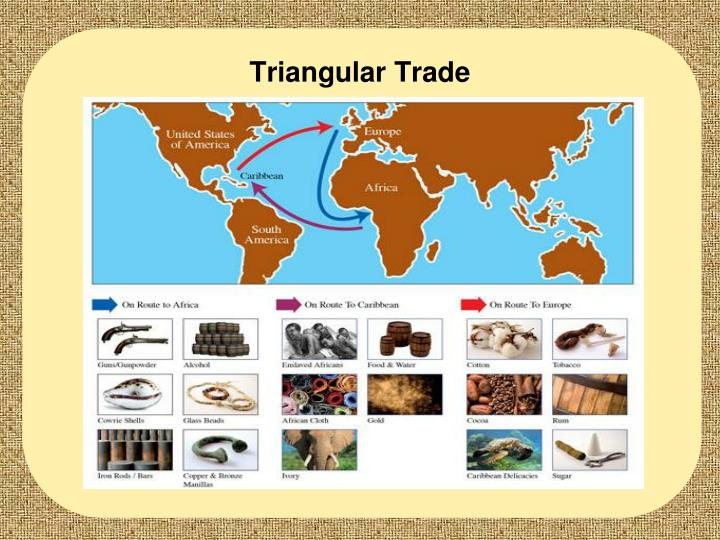 the triangular trade route The triangular trade  the routes involved were historically also shaped by the winds and currents during the age of sailing ships the best-known triangular .