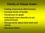 clarity of values foster