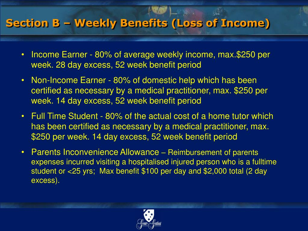 Section B – Weekly Benefits (Loss of Income)