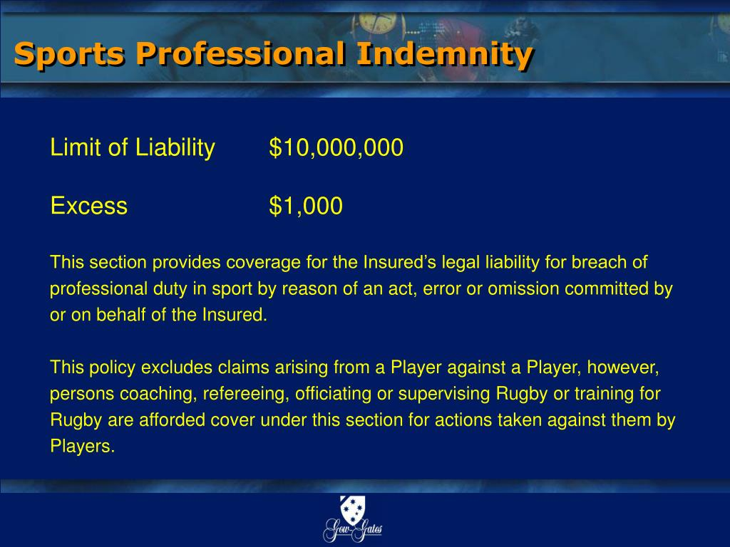 Sports Professional Indemnity