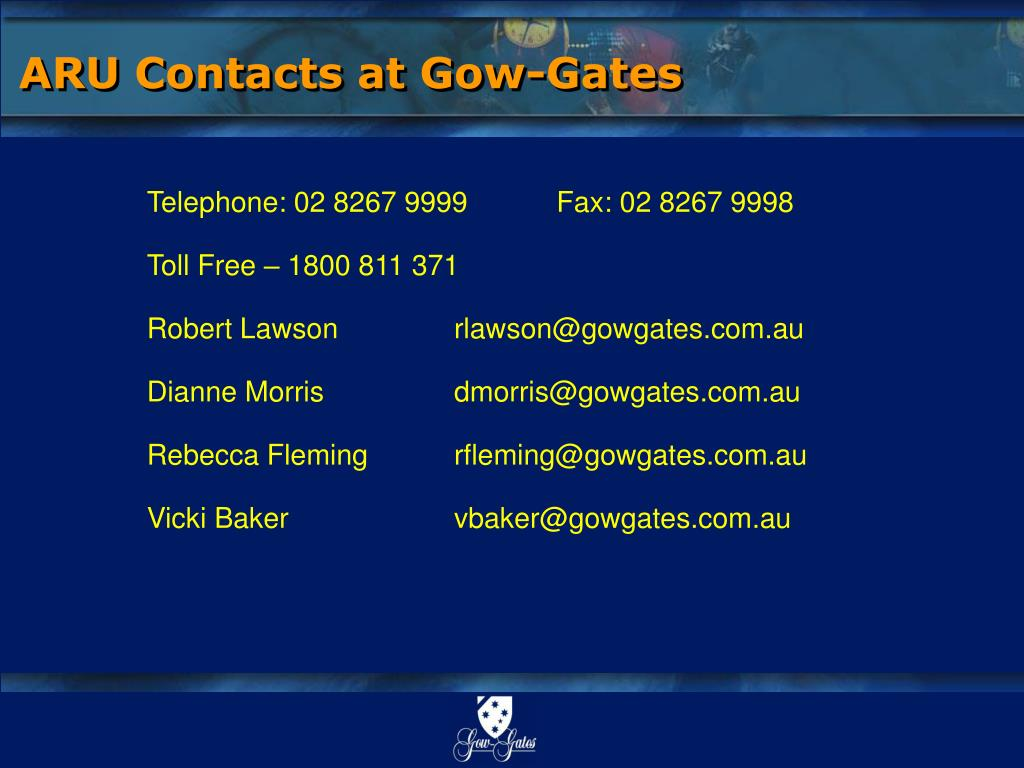 ARU Contacts at Gow-Gates
