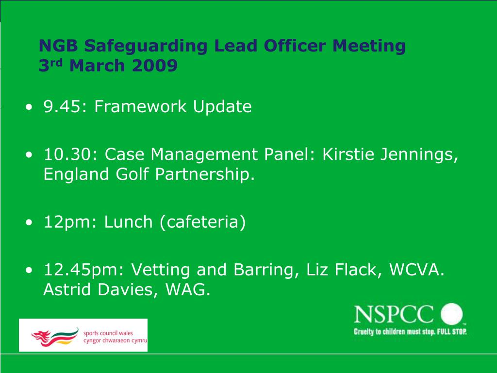 ngb safeguarding lead officer meeting 3 rd march 2009 l.