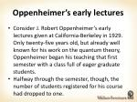 oppenheimer s early lectures