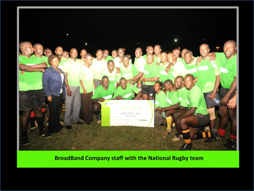 BroadBand Company staff with the National Rugby team