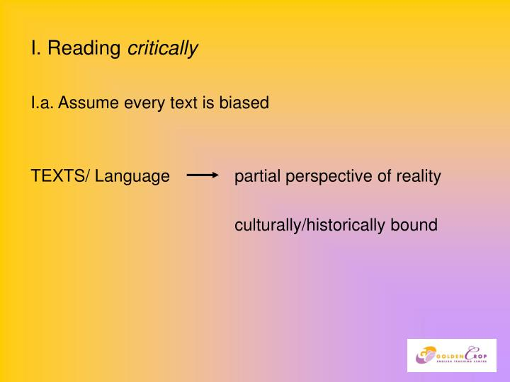 I reading critically
