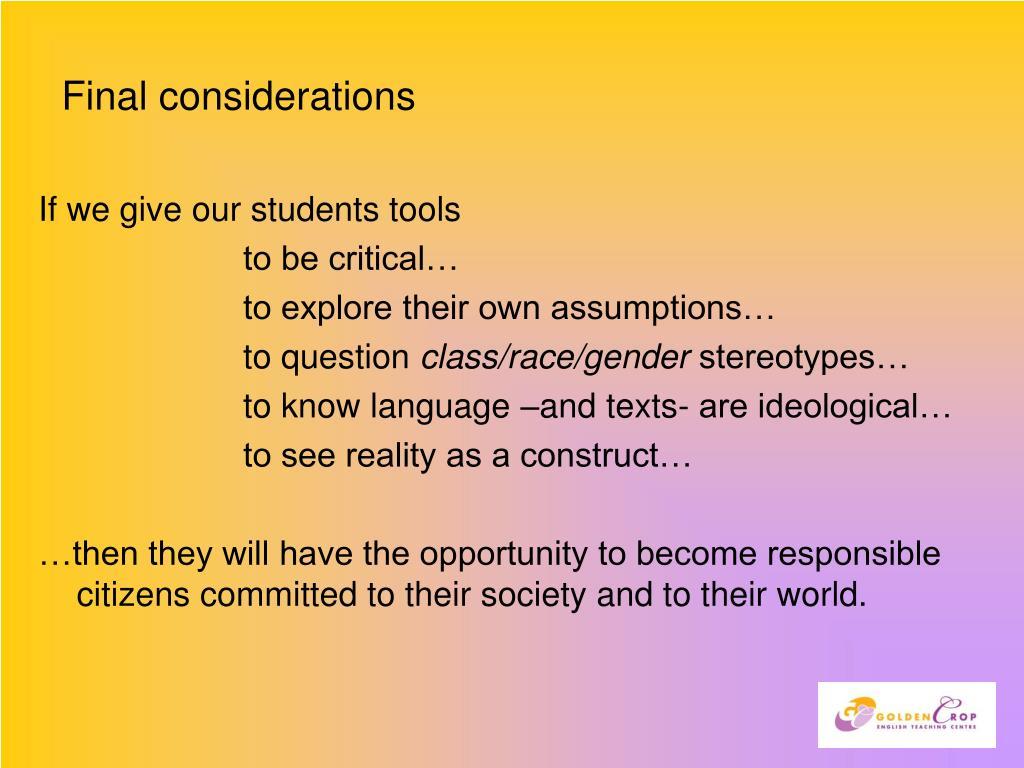 Final considerations