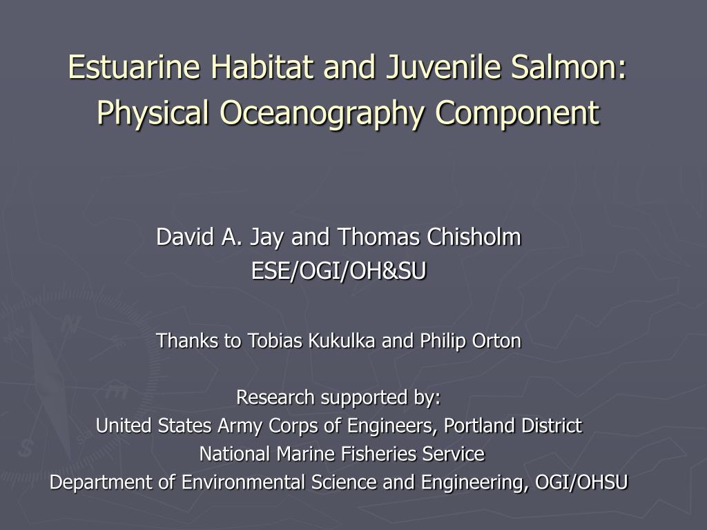 estuarine habitat and juvenile salmon physical oceanography component l.