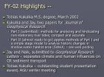 fy 02 highlights