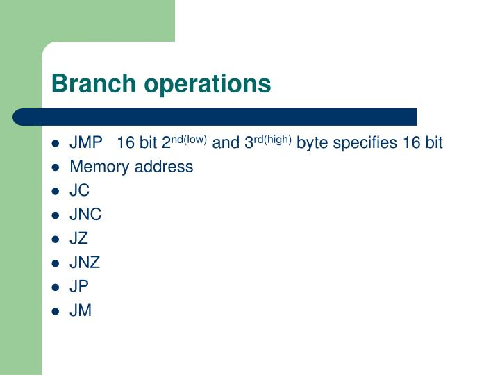 Branch operations