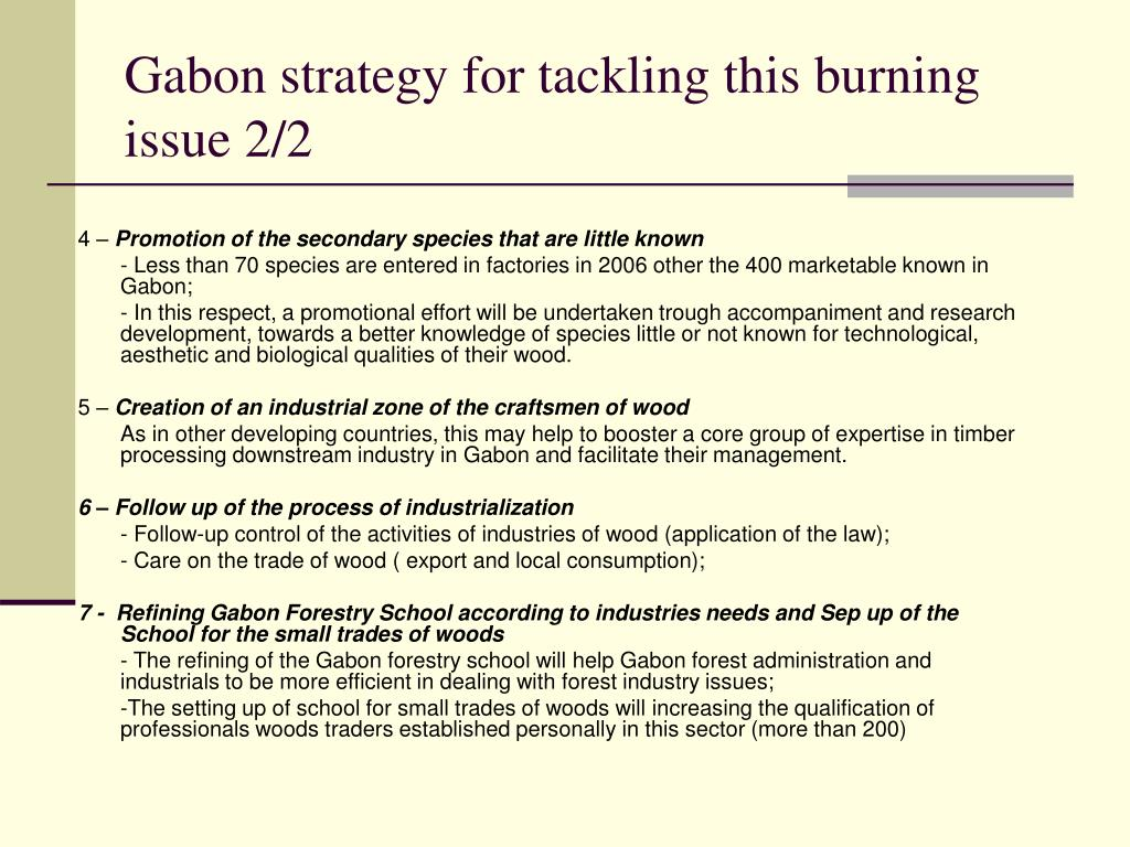 Gabon strategy for tackling this burning issue 2/2