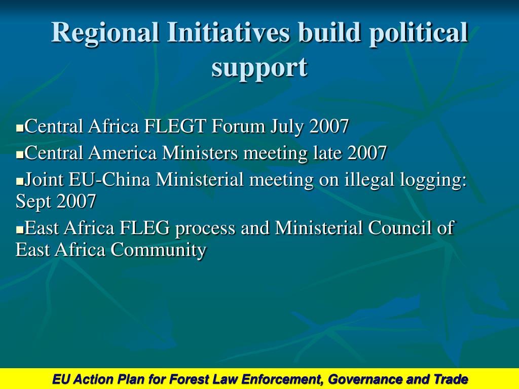 Regional Initiatives build political support