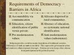 requirements of democracy barriers in africa