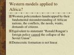 western models applied to africa