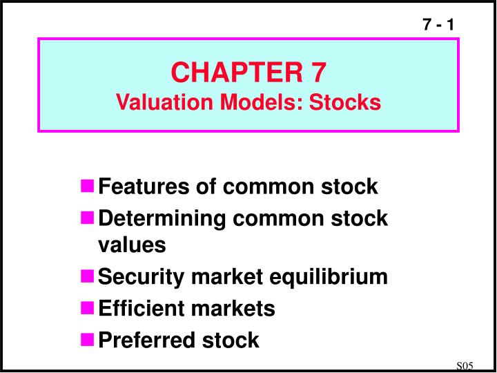 chapter 7 valuation models stocks n.