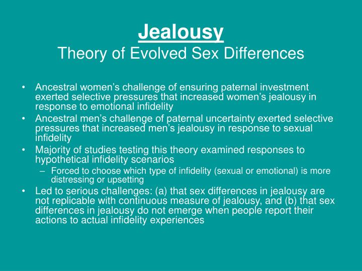 a study on sexual jealousy emotional jealousy and the different sexes