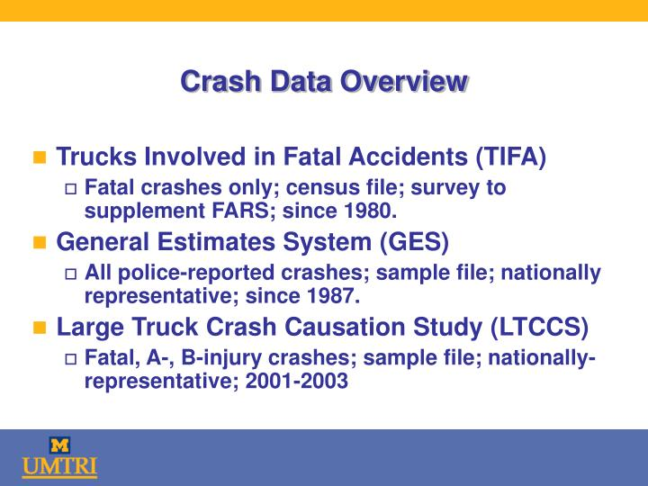 Crash data overview