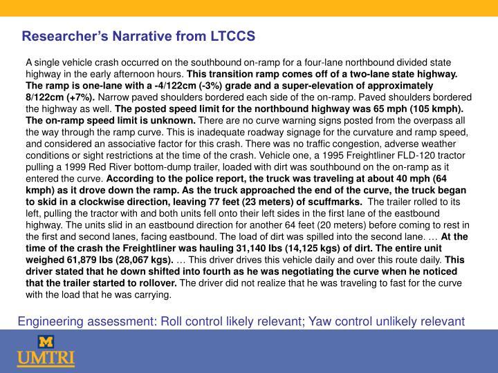 Researcher's Narrative from LTCCS