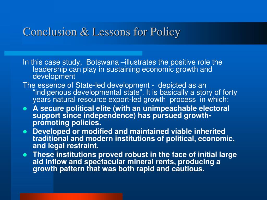 Conclusion & Lessons for Policy