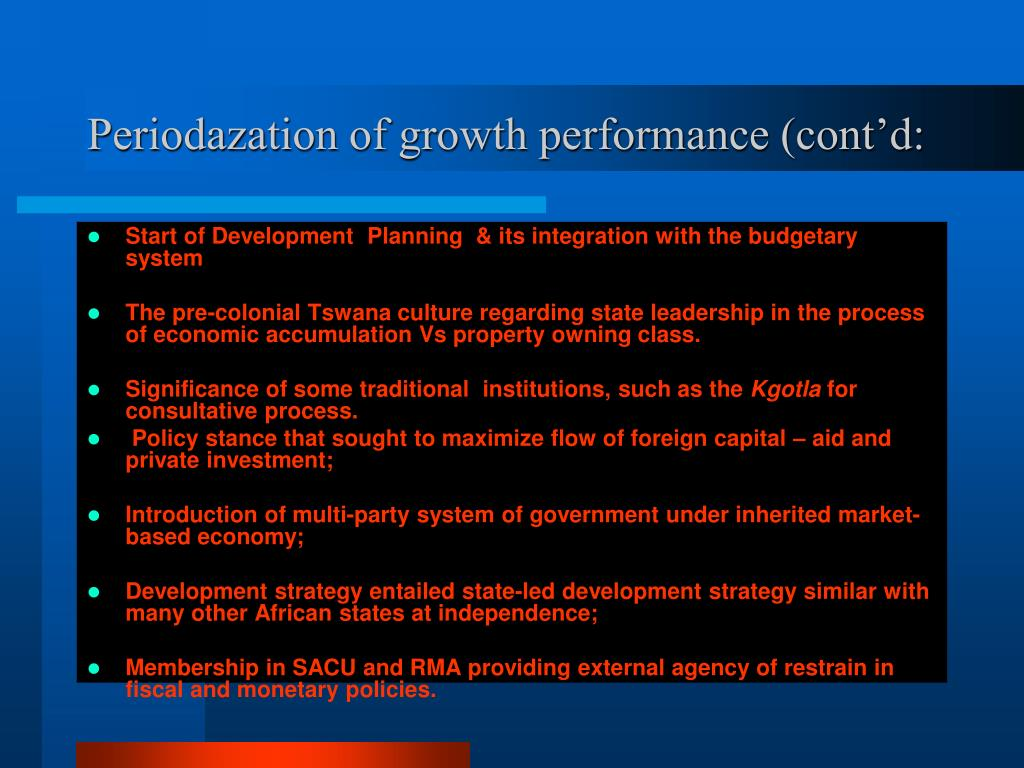 Periodazation of growth performance (cont'd: