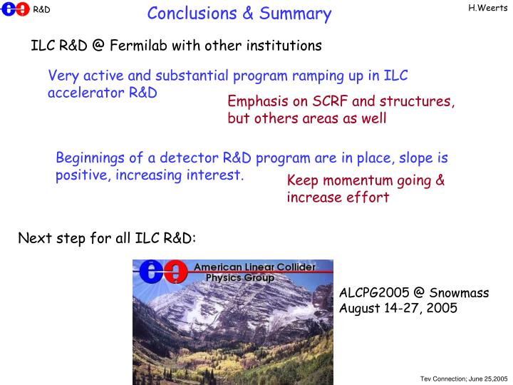 Conclusions & Summary
