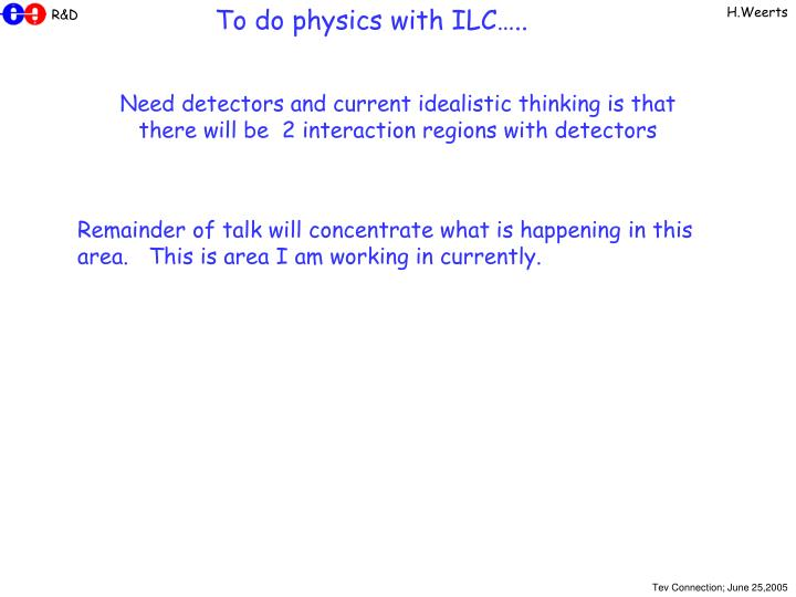 To do physics with ILC…..