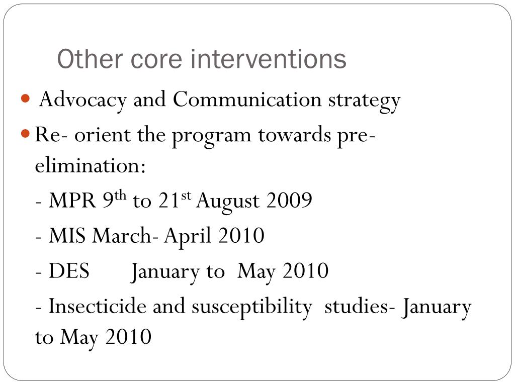 Other core interventions
