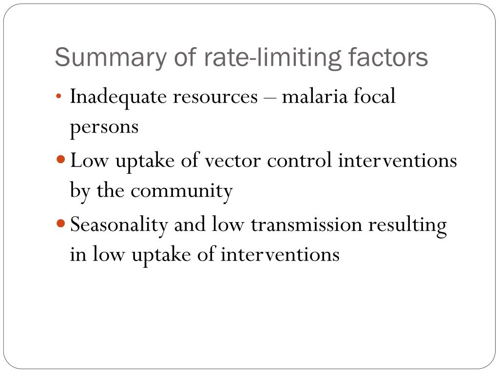 Summary of rate-limiting factors