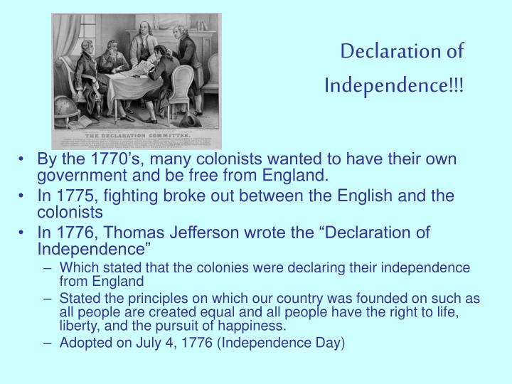 Declaration of     Independence!!!