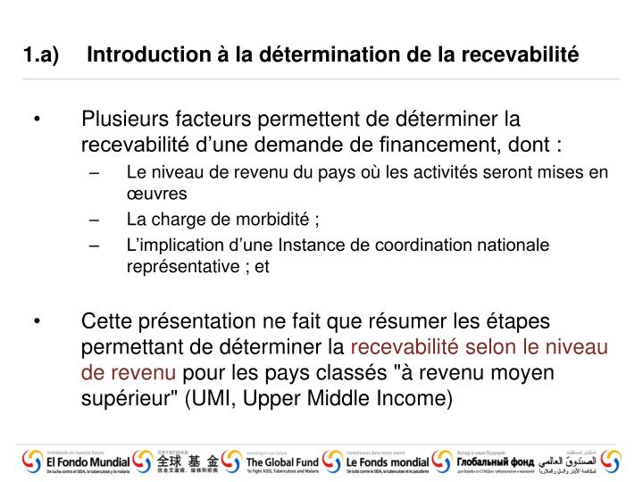 1 a introduction la d termination de la recevabilit