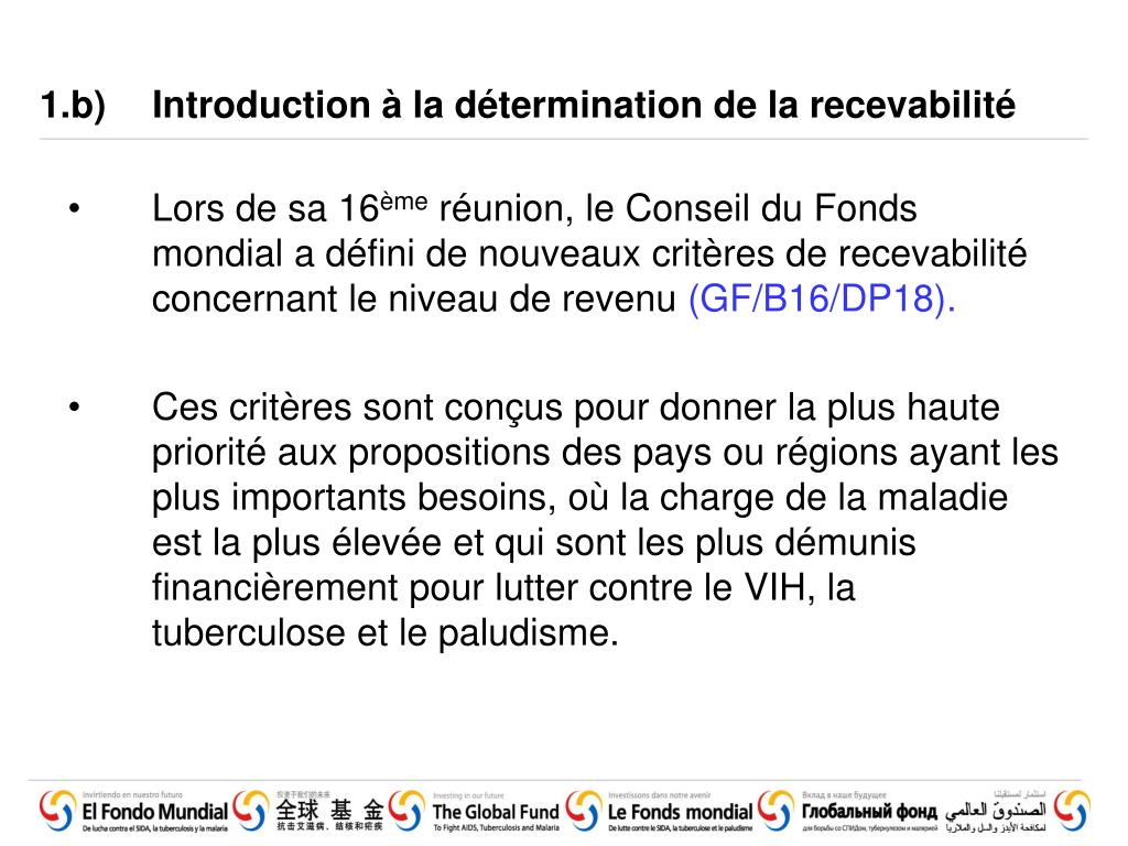 1.b)	Introduction à la détermination de la recevabilité