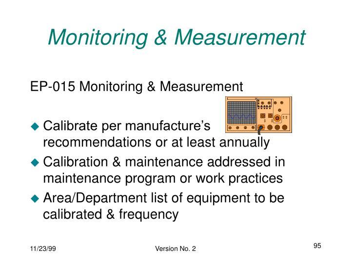Monitoring & Measurement