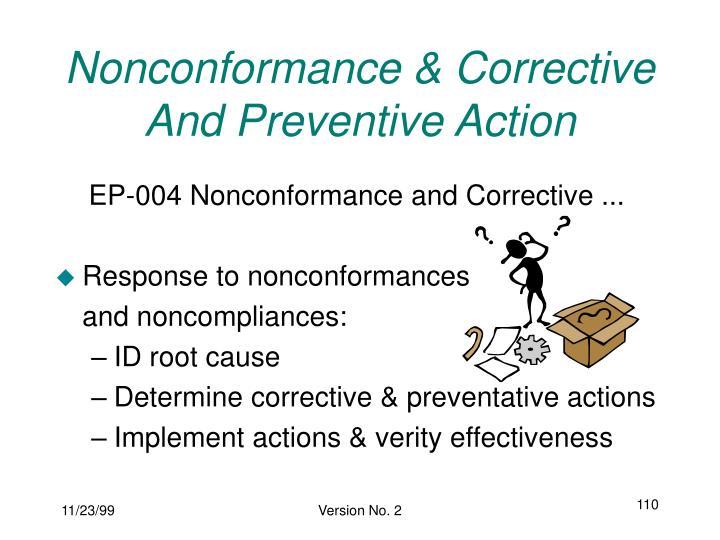 Nonconformance & Corrective And Preventive Action