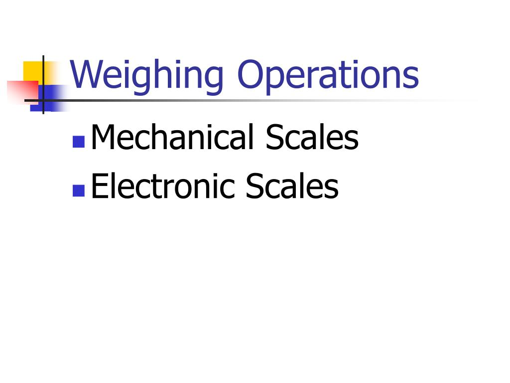Weighing Operations