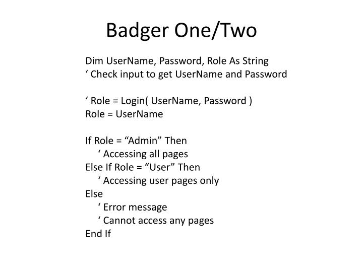 Badger one two