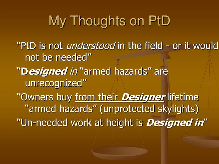 My thoughts on ptd