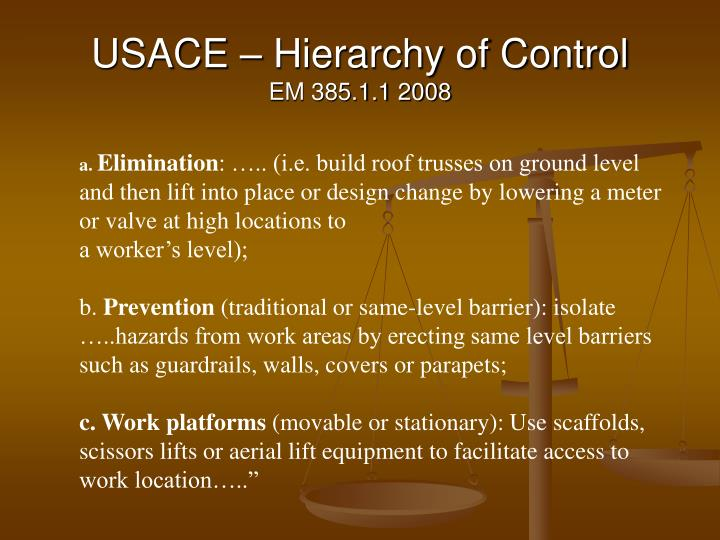 USACE – Hierarchy of Control