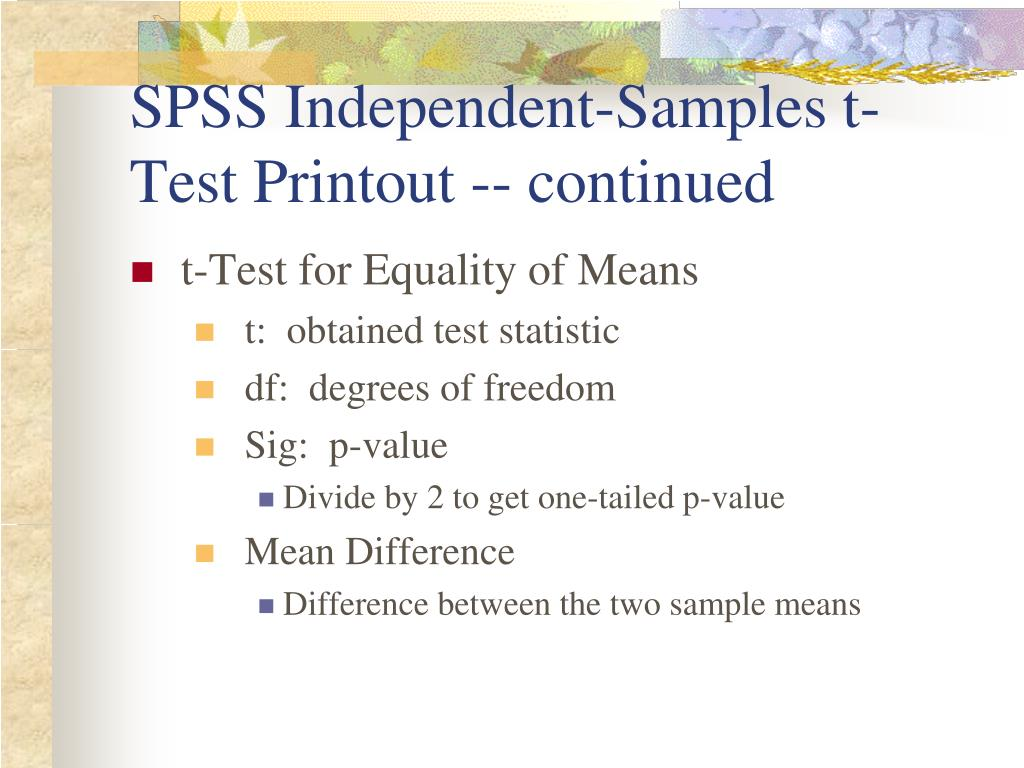 PPT - Independent t-Test PowerPoint Presentation - ID:1049483