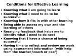 conditions for effective learning
