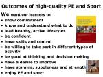 outcomes of high quality pe and sport