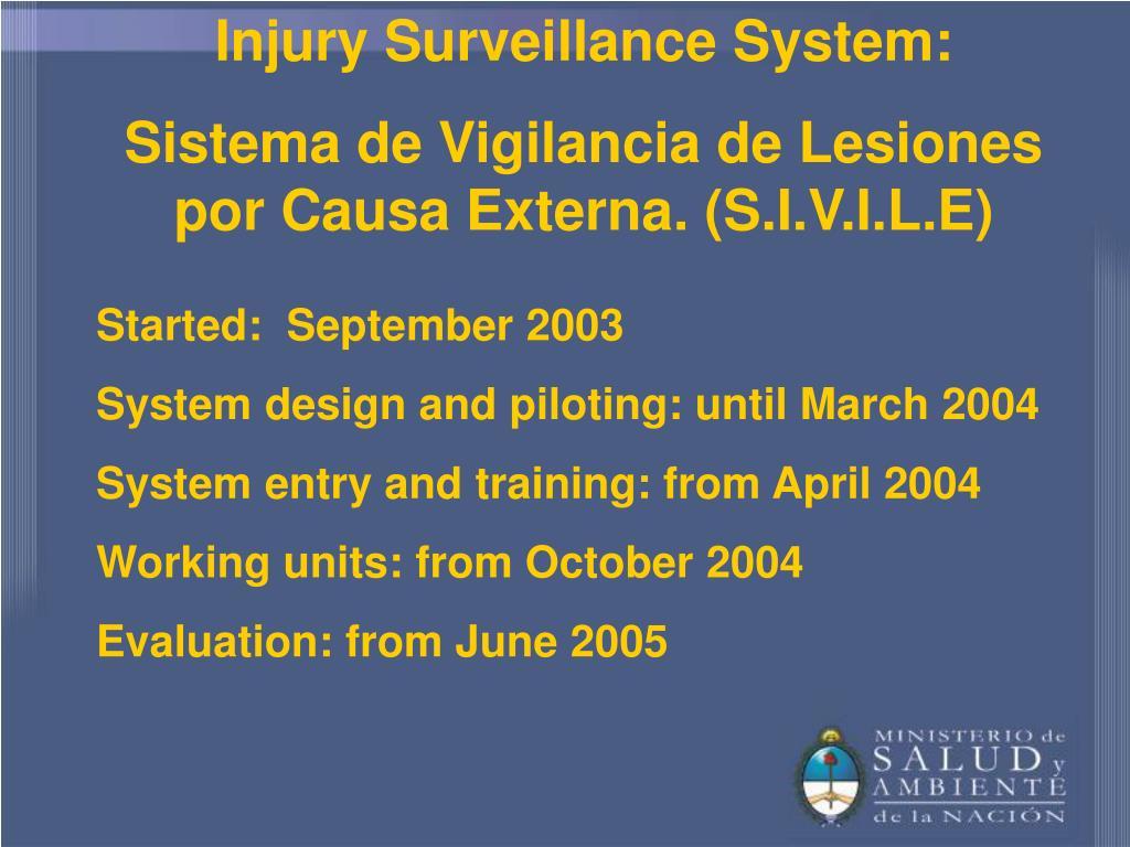 Injury Surveillance System: