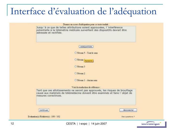 Interface d'évaluation de l'adéquation