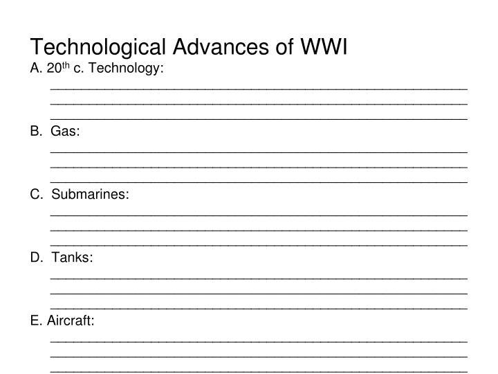Technological Advances of WWI