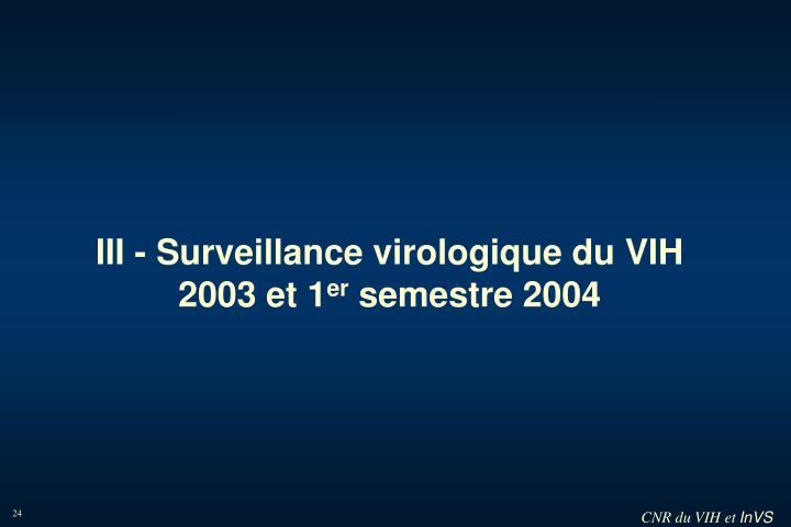 III - Surveillance virologique du VIH